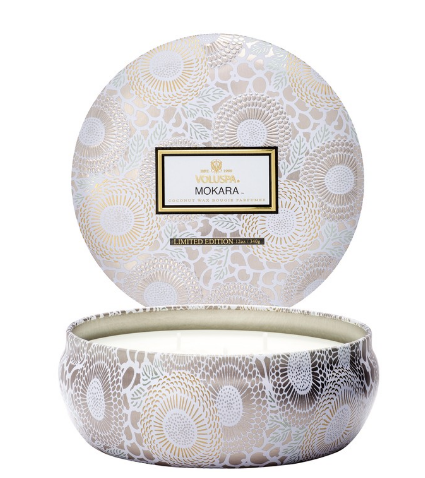 Voluspa 3 Wick Decorative Tin Mokara