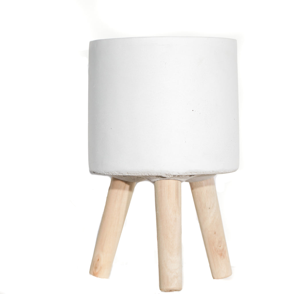 "6"" Wood Leg Planter - white"