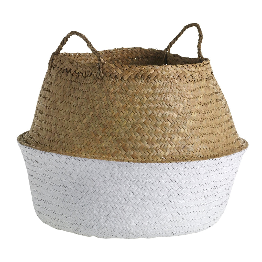 "20"" Woven Basket in Natural & White"