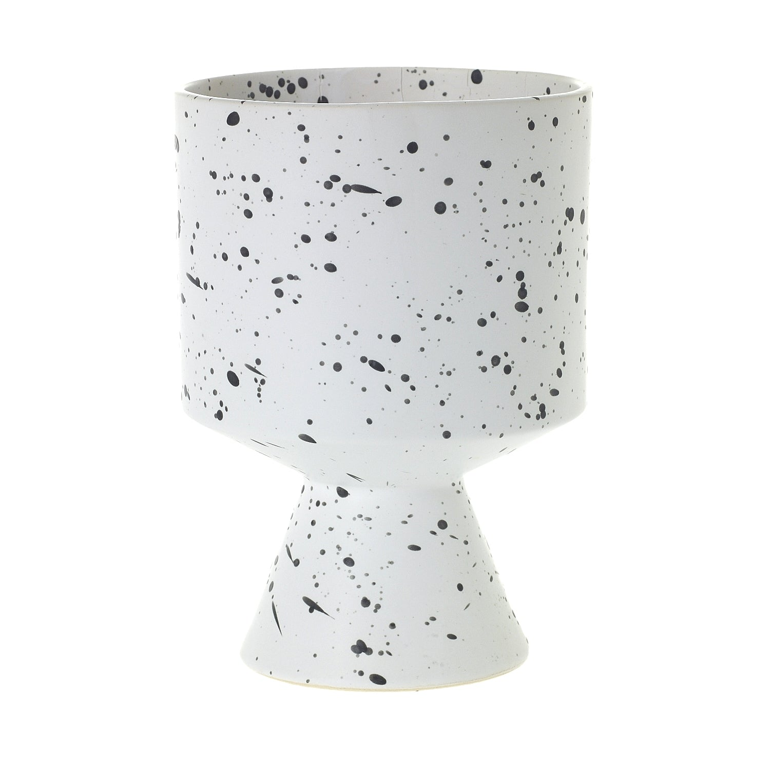 "6"" Pedestal Pot in Speckled White"