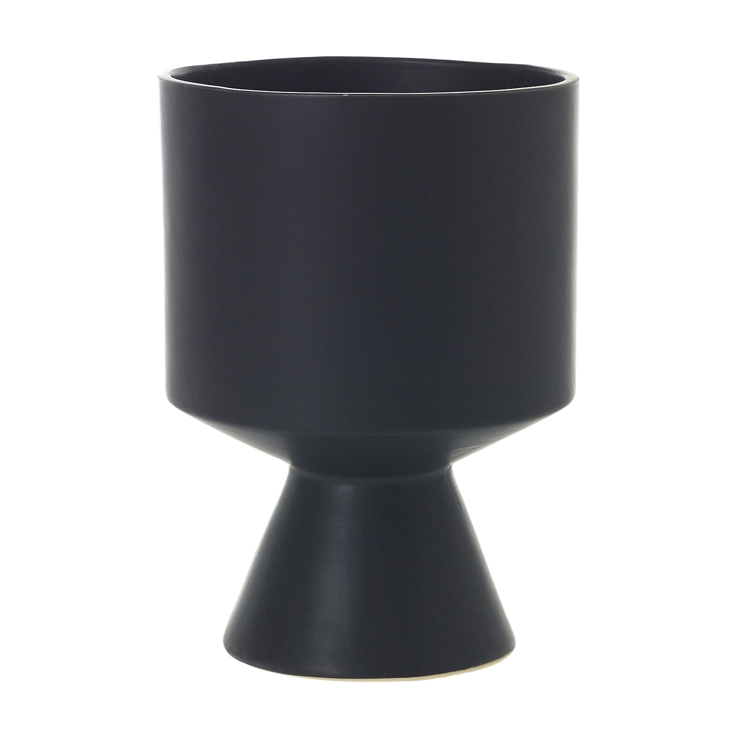 "6"" Pedestal Pot in Matte Black"