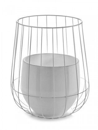 "10"" Serax Caged Pot in White"
