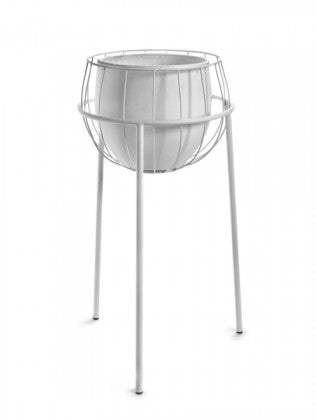 "9"" Serax Plant Stand Cage & Pot in White"