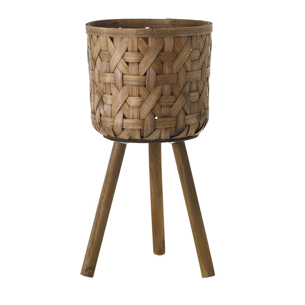 "10"" Woven Bamboo Basket Stand in Natural"