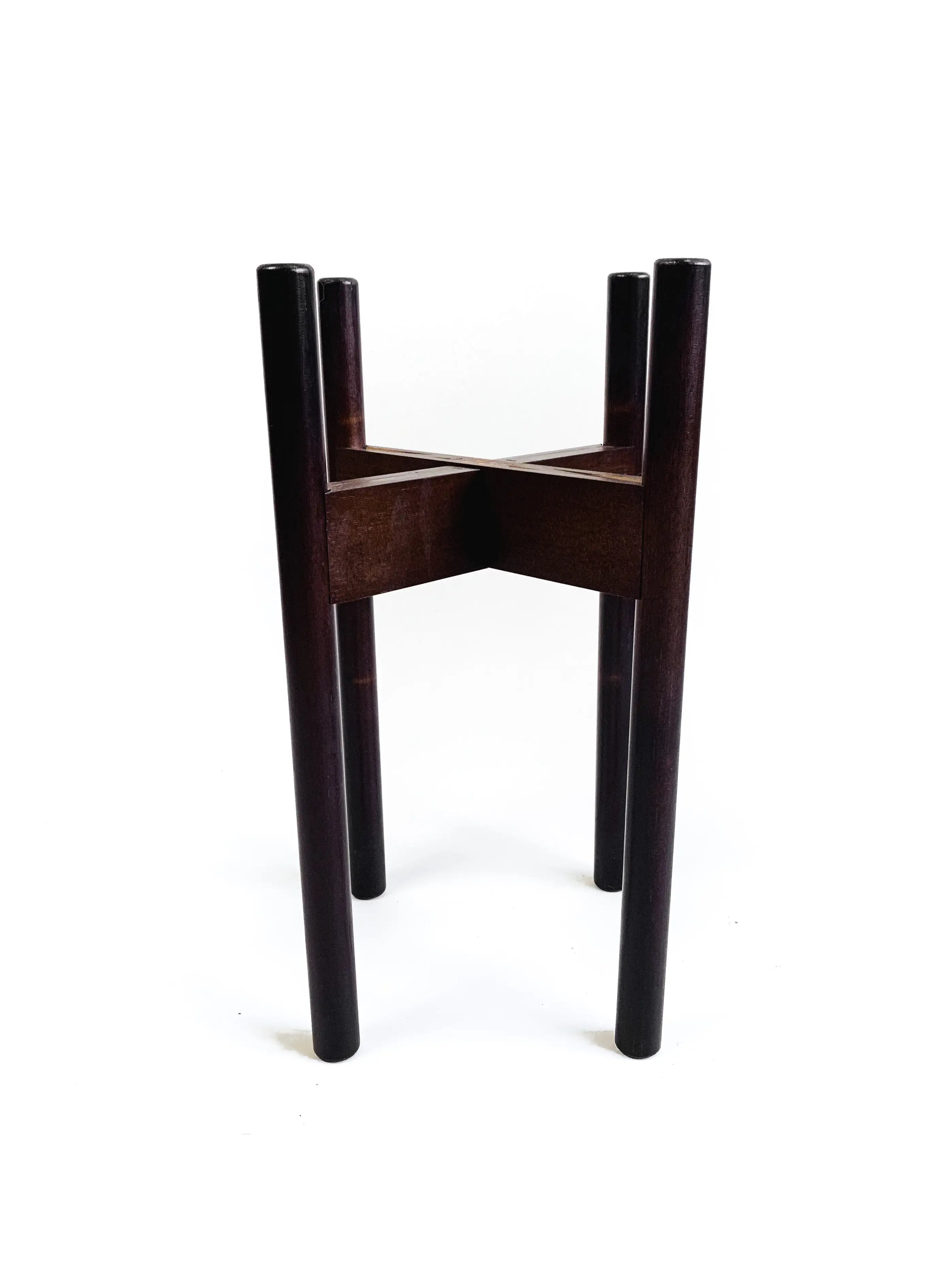 "Decluttered Top Level 8-12"" Adjustable Plant Stand in Dark Brown"