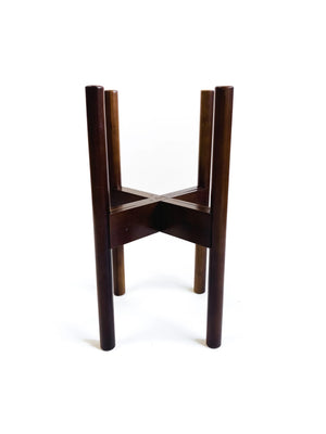 "Decluttered Mid Level 8-12"" Adjustable Plant Stand in Dark Brown"