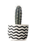 "4"" Gray Green Goods Canvas Basket in Natural with Wavy Black Stripes"