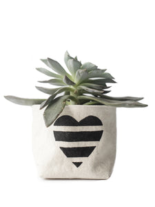 "4"" Gray Green Goods Canvas Basket in Natural with Black Striped Heart"