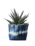 "4"" Gray Green Goods Canvas Basket in Shibori Dark Indigo"