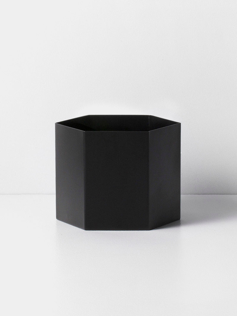 "5"" Ferm Living Hexagon Pot in Black"