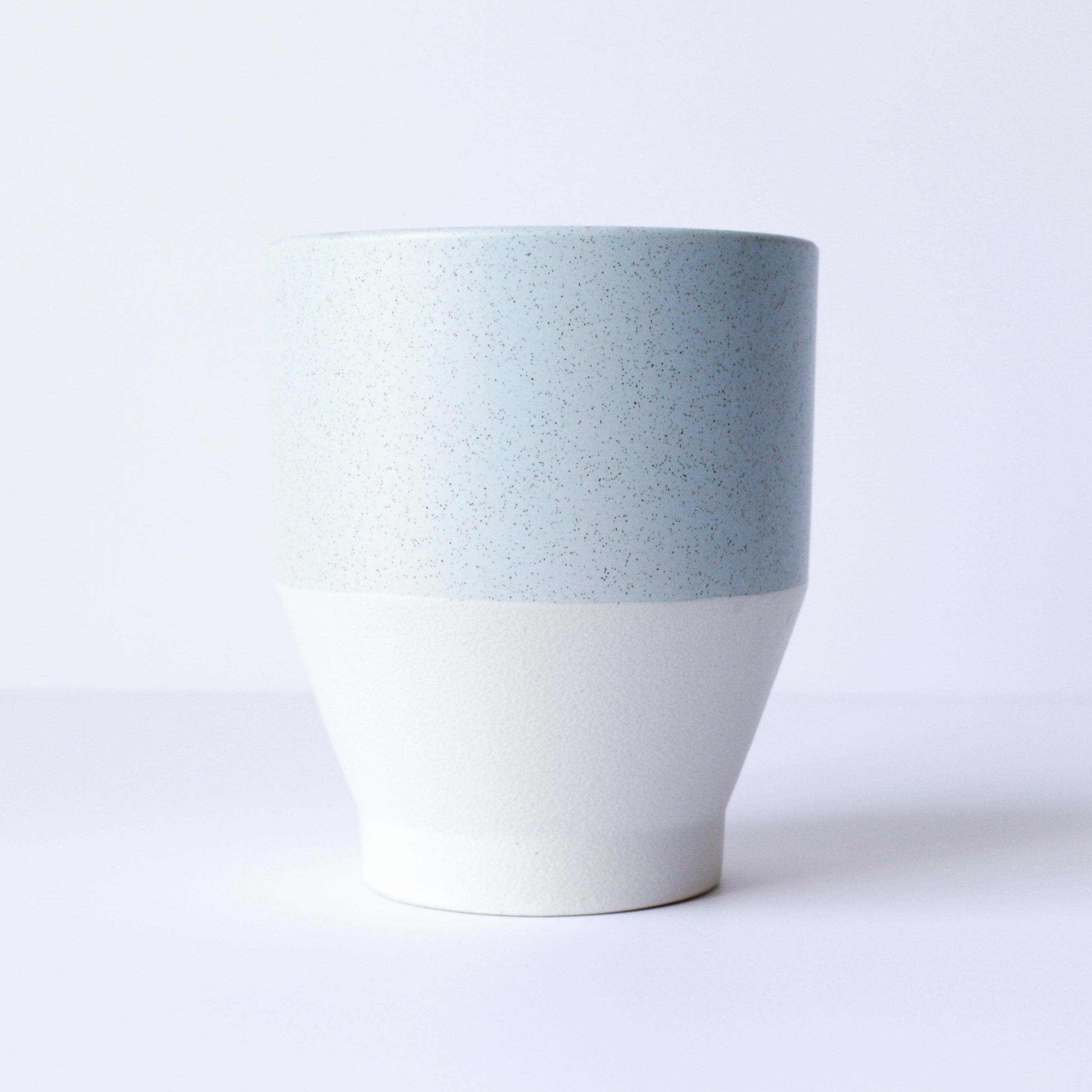"4"" Pot in Speckled Light Blue & Textured Chalk"