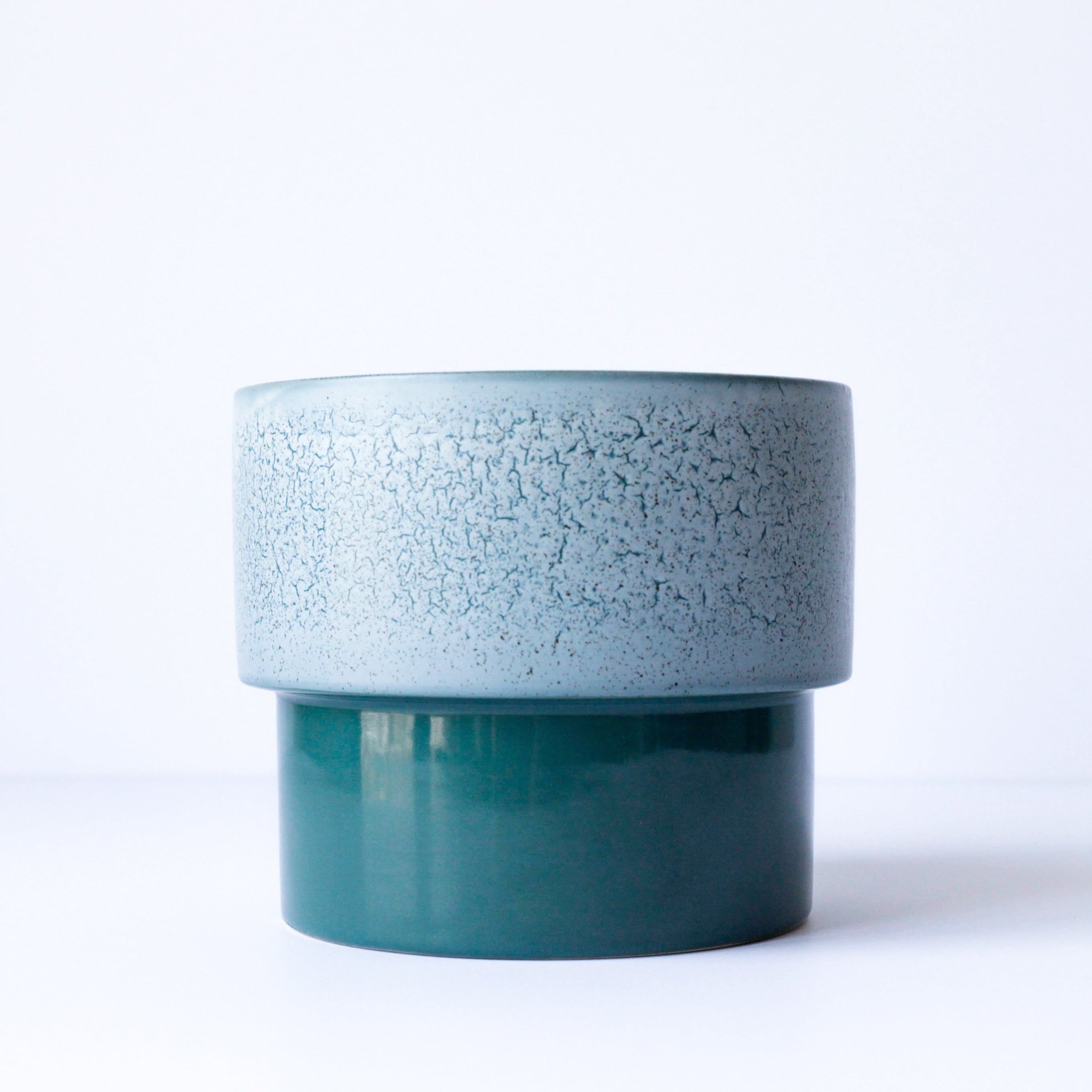 "6"" Pedestal Pot in Speckled Turquoise"
