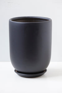 "6"" Tapered Ceramic Pot in Black"