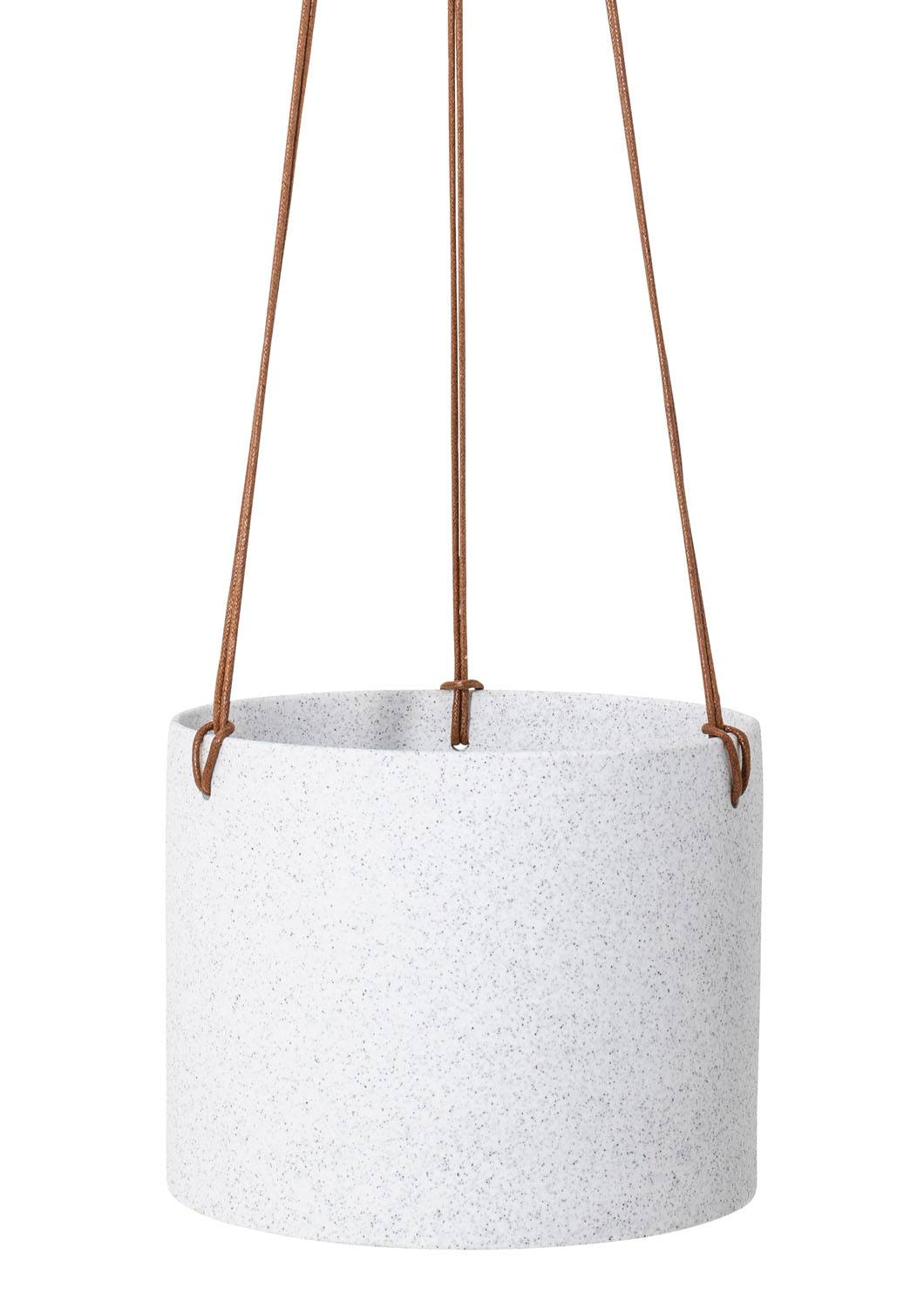 "8"" Angus & Celeste Sandstone Hanging Planter in Flecked White"