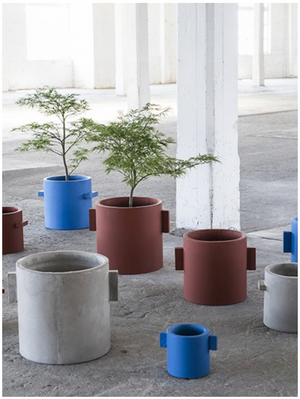 "6"" Serax Concrete Pot in French Blue"