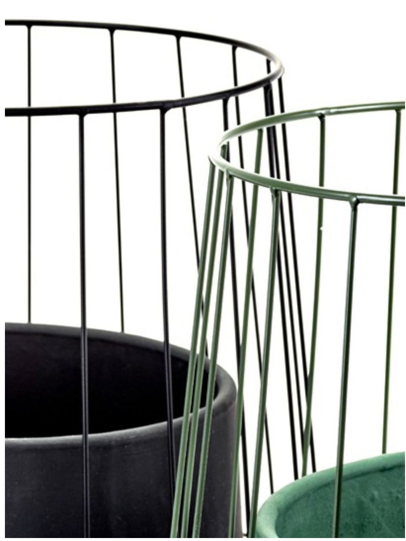 "10"" Serax Caged Pot in Black"