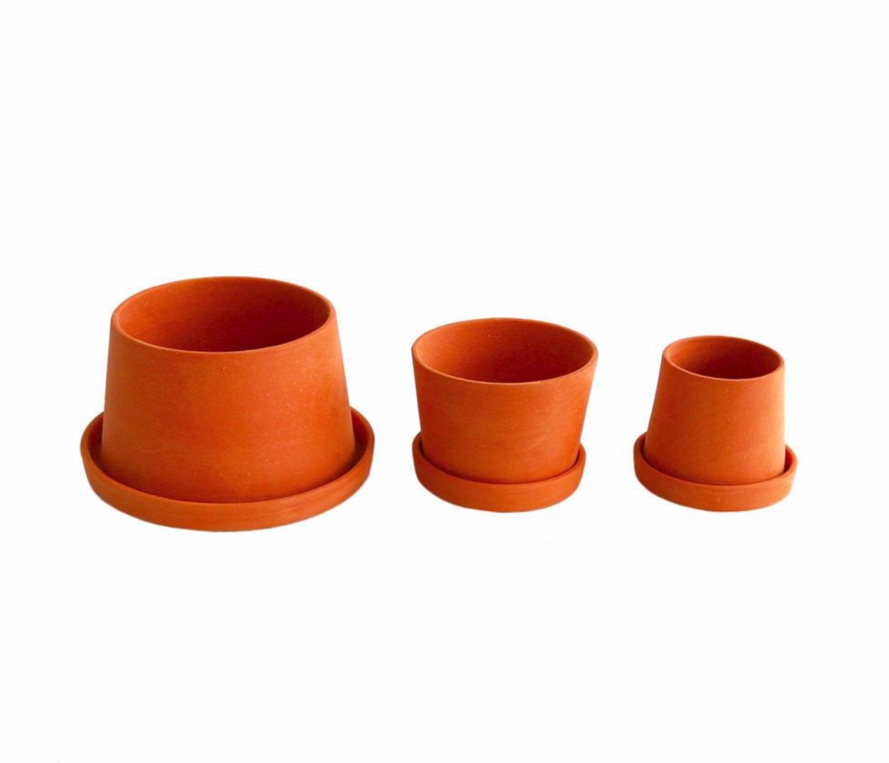 "2-4"" Michiko Shimada Set of 3 Mini Planters in Terracotta - Set A"