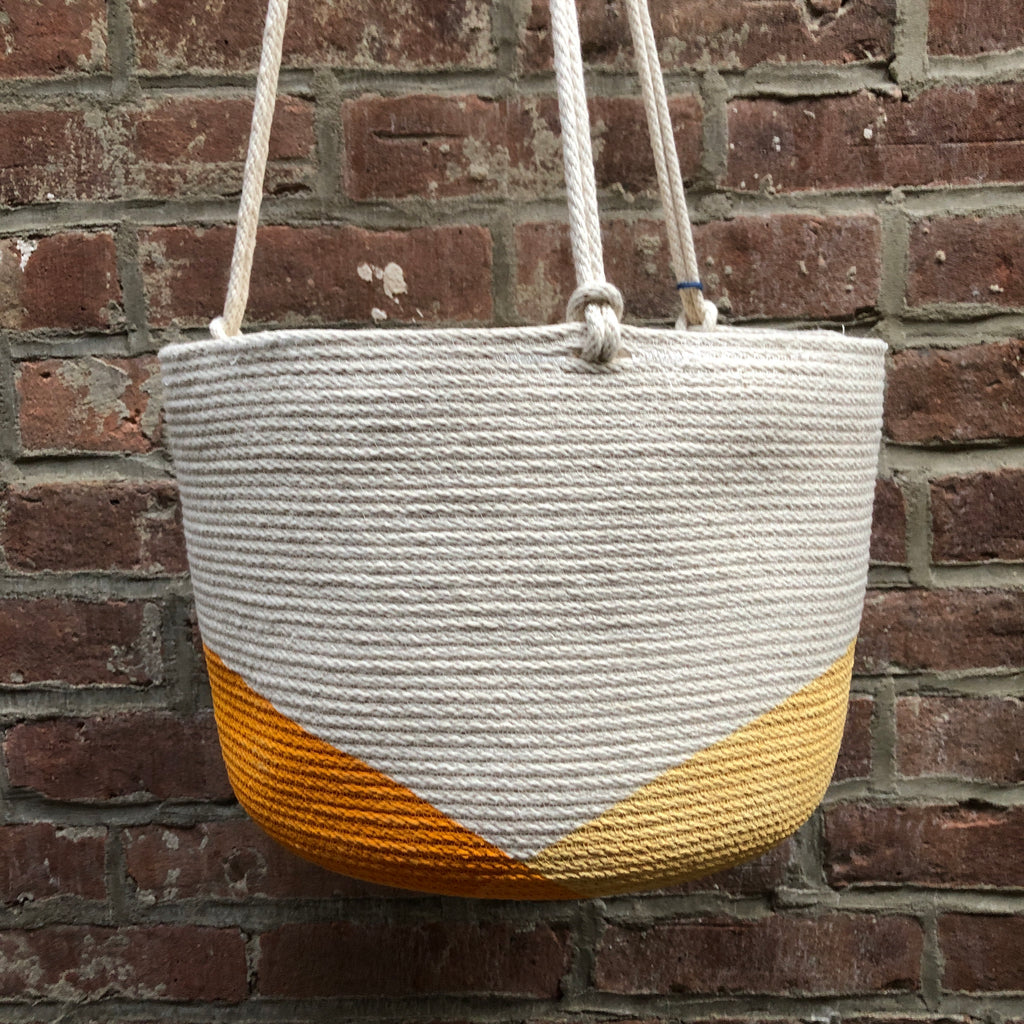 "9"" Closed Mondays Hanging Planter in Yellow"