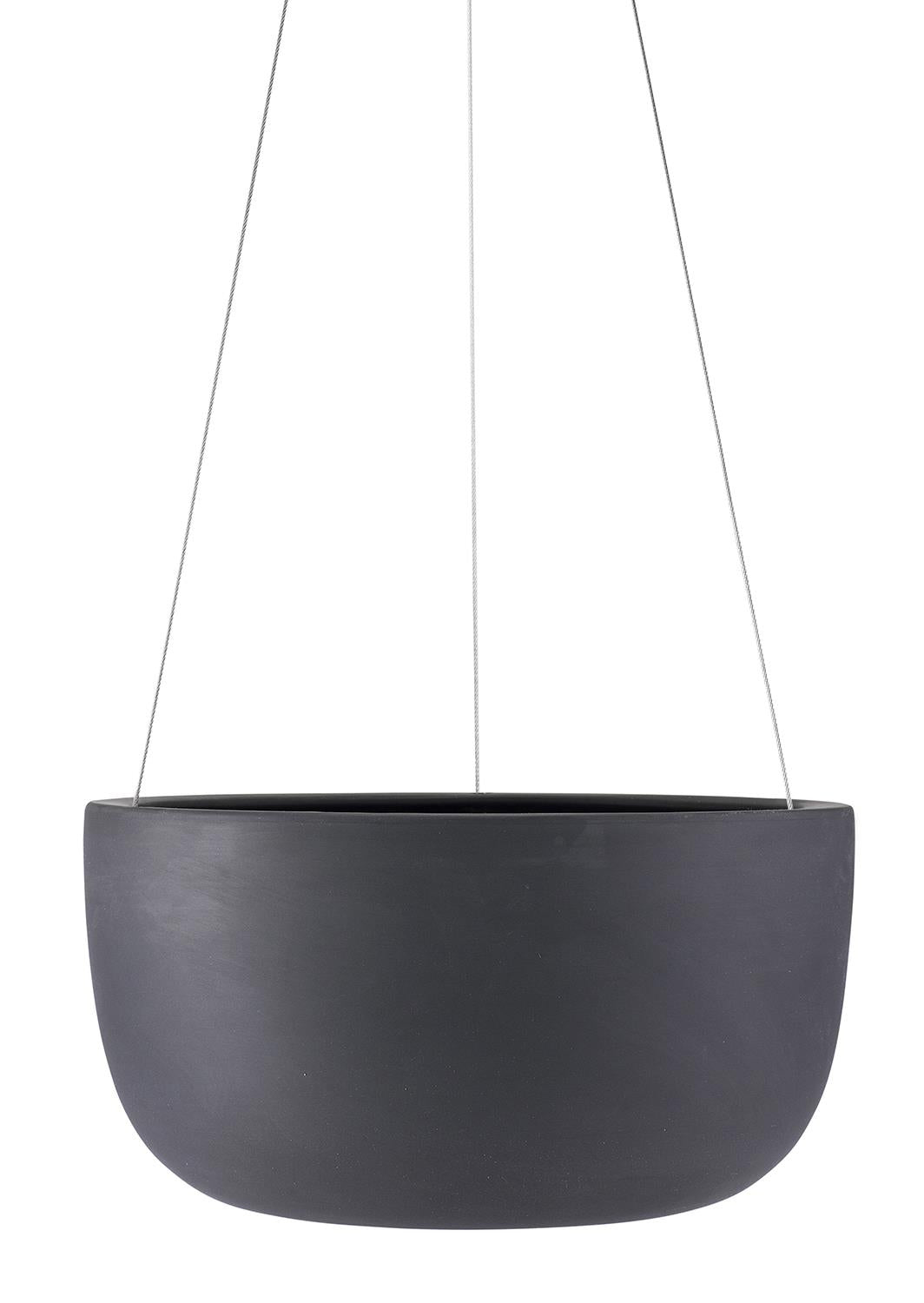 "12"" Angus & Celeste Raw Earth Hanging Planter in Charcoal"