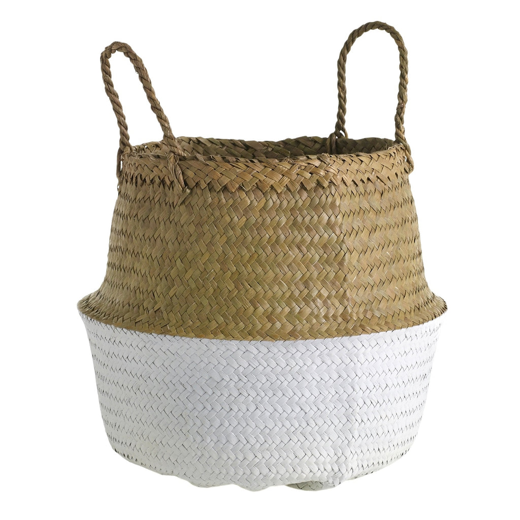 "13"" Woven Basket in Natural & White"