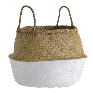 "17"" Woven Basket in Natural & White"