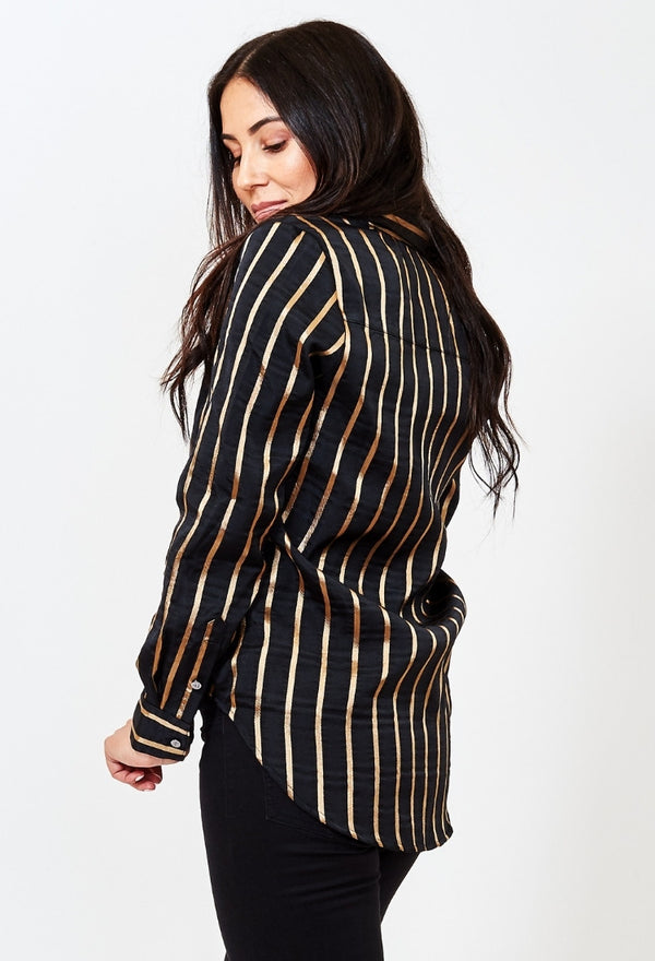 French Freddie black and gold striped womens business blouse