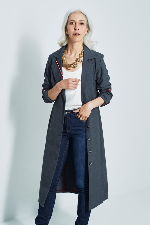 River Military-Style Long Coat