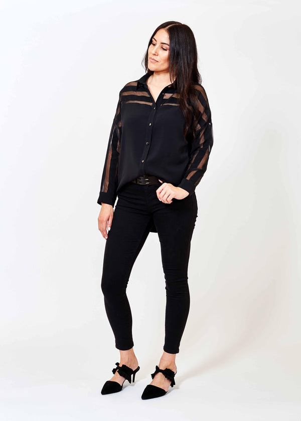 A Glamorous winter Black polyester shirt with sheer stripe detailing