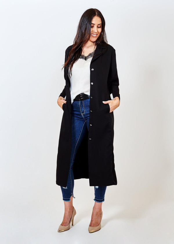 Waterfall Duster Jacket Black-Jacket-French Freddie