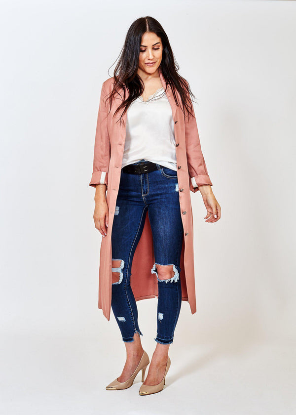 Waterfall Duster Jacket Blush Pink-Jacket-French Freddie