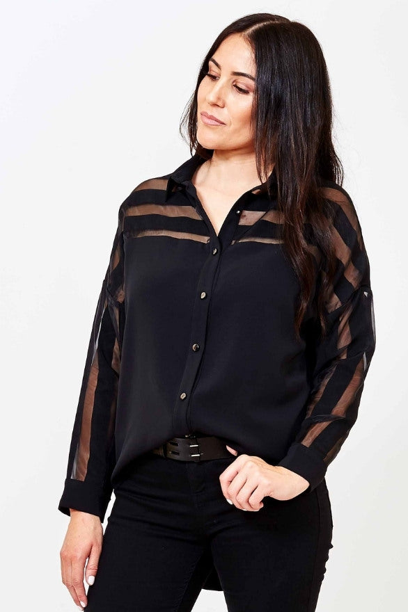 black striped womens blouse French Freddie