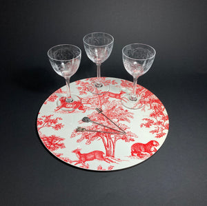 Toile de Jouy Rouge Place Mats Set