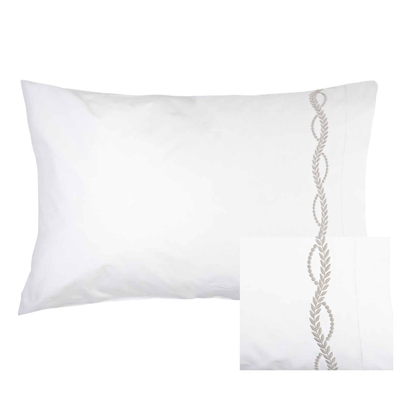Empire Grey Embroidered Pillowcase Pair