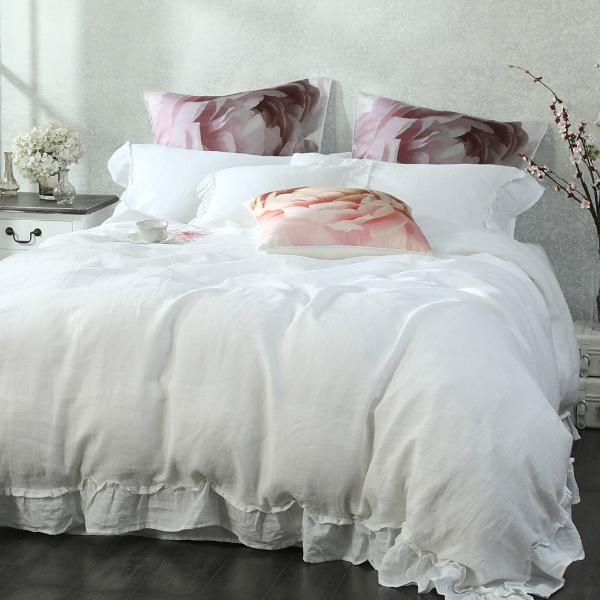 Laundered Linen Frill Duvet Set