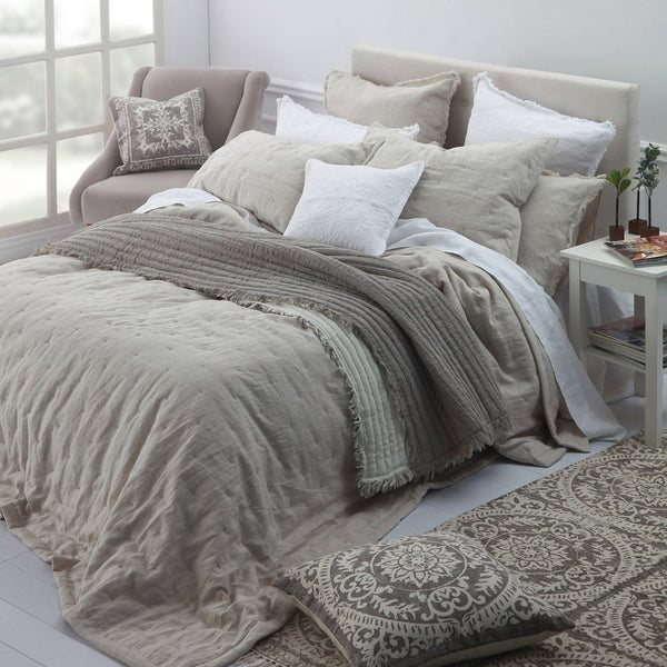Laundered Linen Bedspread Set Natural