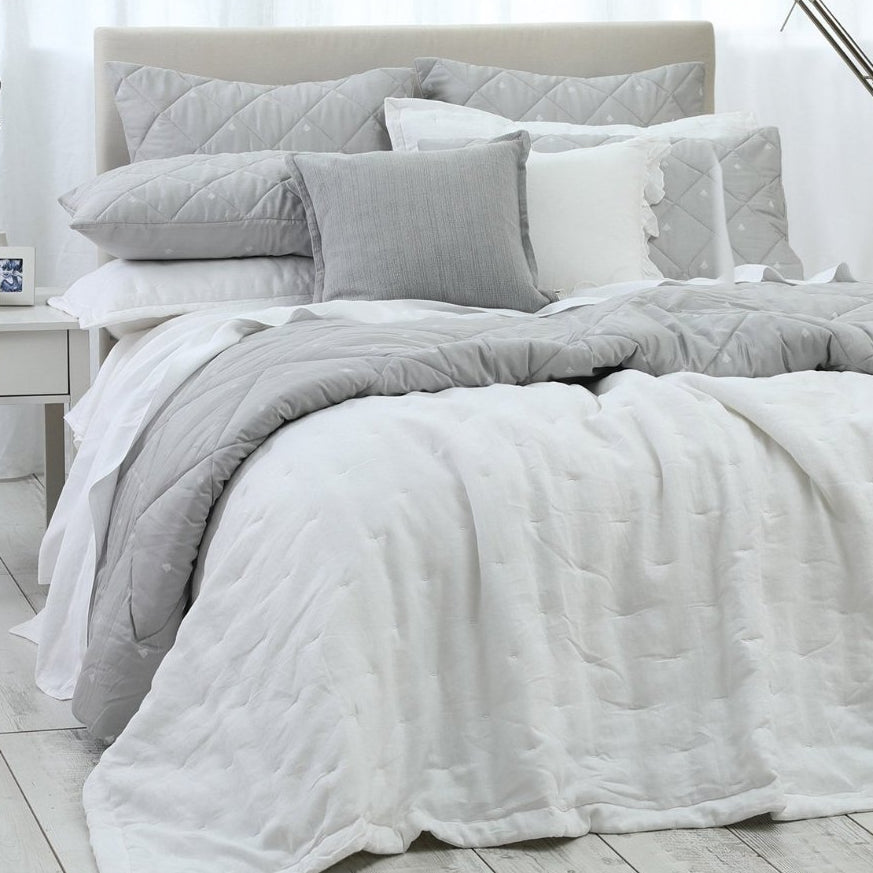 Laundered Linen Bedspread Set White