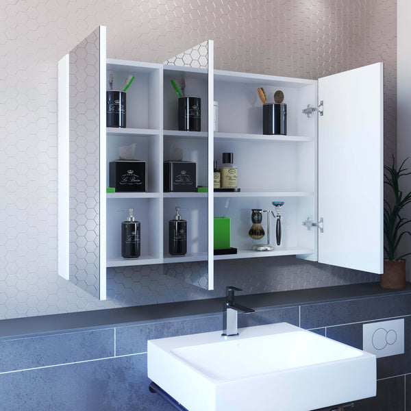 3 Doors Frameless Medicine Cabinet With 4 Adjustable Shelves