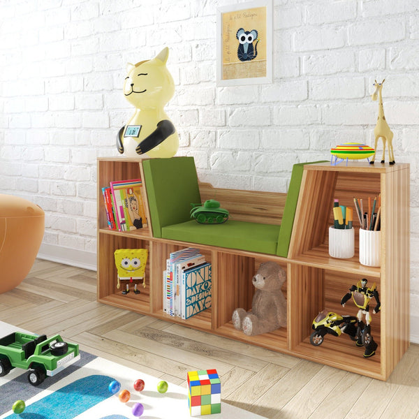 Oak Reading Nook  – Compact Bookcase for Kids – All-In-One With Storage Shelves – Space-Saver for All Homes – Padded Seating