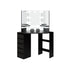 Dark Brown Corner Makeup Vanity Table With LED Lights, Tri-Fold Mirror, Drawer, and Storage Shelf – All-In-One for Professional Makeup and Elegant Look