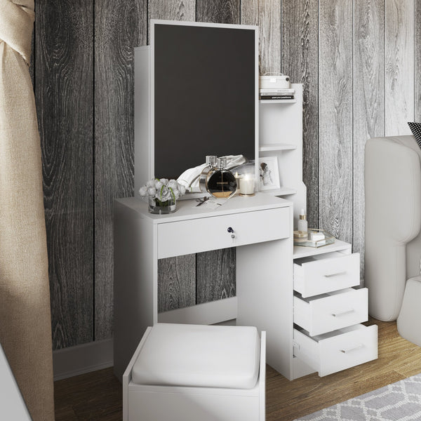Makeup Table with Sliding Door-Mirror,  Additional Drawer and Storage Shelves Free Stool Included