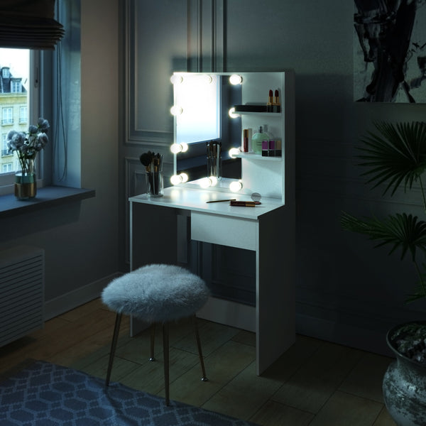 Dressing Room Style Makeup Table with Built-In Lights