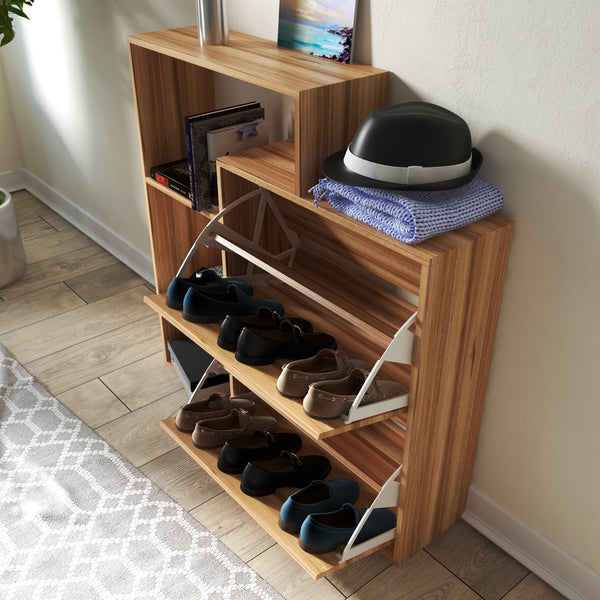 Natural OAK Brown Shoe Cabinet With 2 Drawers And Shelves