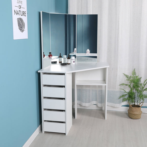 Victoria - Corner Makeup Table with Mirror and Integrated Storage