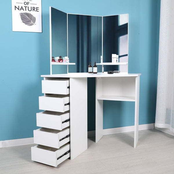 Victoria - Corner Makeup Table with Mirror and Integrated Storage     FREE SHIPPING