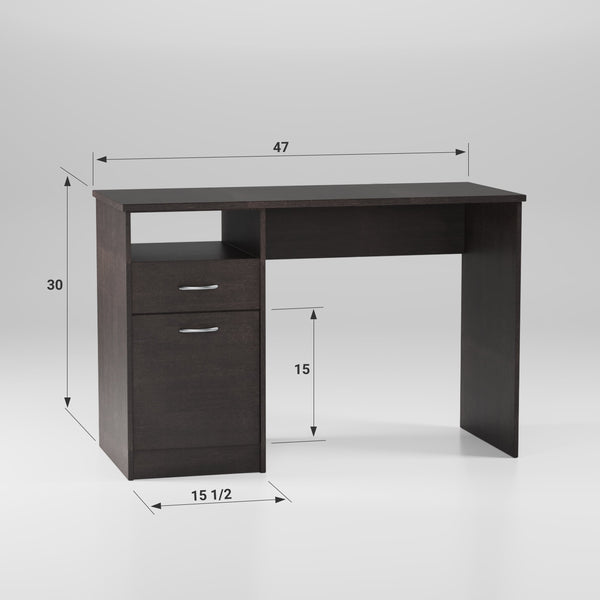 Writing Desk – Small Office Desk with Drawer and Open Shelf