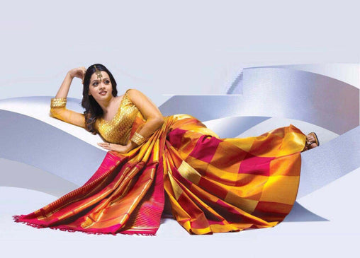 Adhesive Golden Color Soft Silk Designer Saree