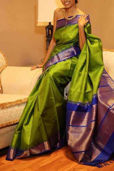Adhesive Green Color With Blue Border Soft Silk Designer Saree