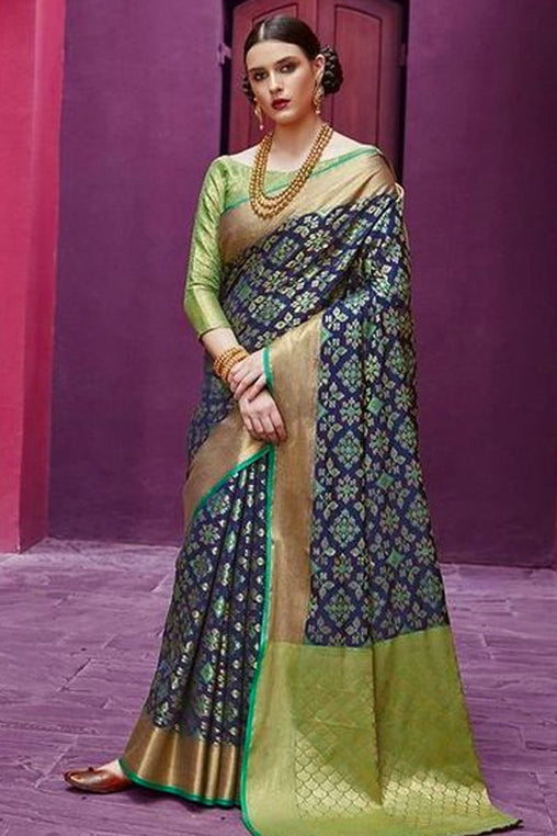 Party Wear Blue Color With Green Concept Soft Silk Designer Saree