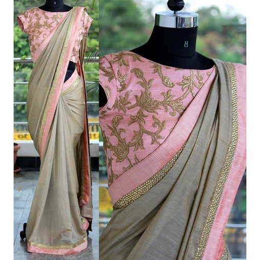 Adhesive Grey and Pink color Soft Silk Designer Saree
