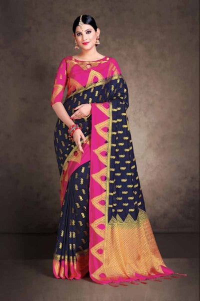 Adhesive Dark blue and Pink color Soft Silk Designer Saree